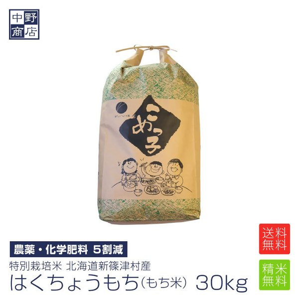 令和2年度産 お米 30kg もち米 はくちょうもち 特別栽培米 北海道産新篠津村 生産者 井伊 秀一さん 節減対象農薬5割減 化学肥料 5割減