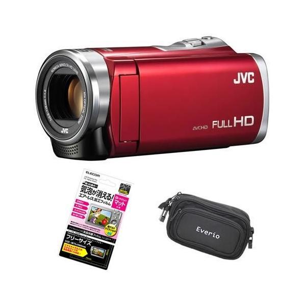 【3点セット】JVC Everio 8GB内蔵メモリー フルハイビジョンビデオカメラ GZ-E880-R レッド&液晶保護フィルム&カメラバッグ