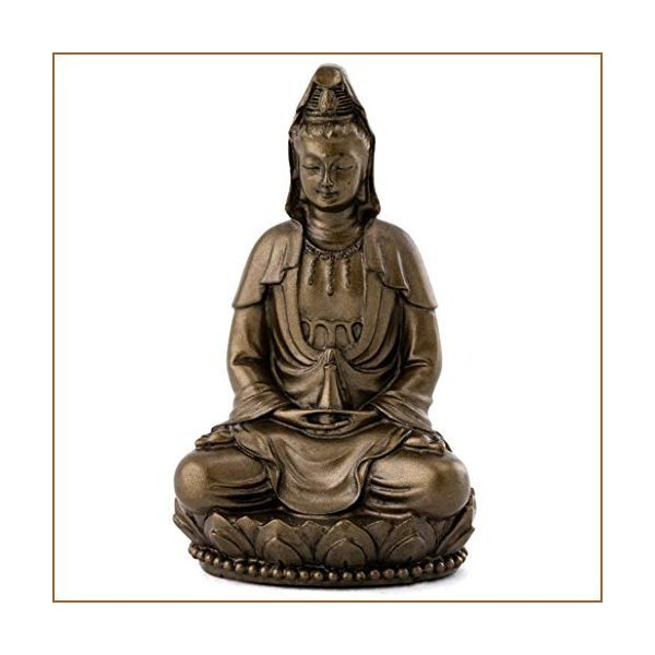 Top Collection Small Quan Yin Decorative Statue - Hand-Painted Guan Yin Sculpture with Bronze Finish Look - 3-Inch East Asian Deity Goddess