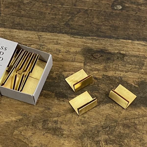 BRASS(ブラス) カードスタンド S 20個入り おしゃれ 真鍮 ゴールド アンティーク風 ショップカード カード立て プライスカード立て POP立て ハンドメイド販売