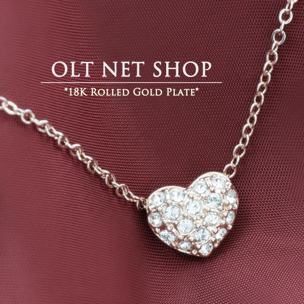 ネックレス 18金 レディース ハート ダイヤ K18 ピンクゴールド チェーン / パヴェ / 18K 刻印|olt-netshop