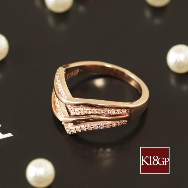 指輪 リング レディース 18金 18K ダイヤ ピンクゴールド / V字 / K18 刻印|olt-netshop|05