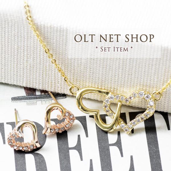 ネックレス ピアス セット / オープンハート / レディース 18金 18K ダイヤ ゴールド K18|olt-netshop