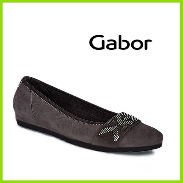 Gabor52684 GRYS ガボール MADE IN Portugal フラットソールパンプス  グレイスエード