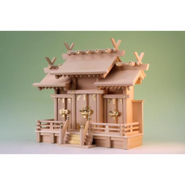 神棚 三社 弥栄 屋根違い三社 小型 尾州桧 上品|omakase-factory|04