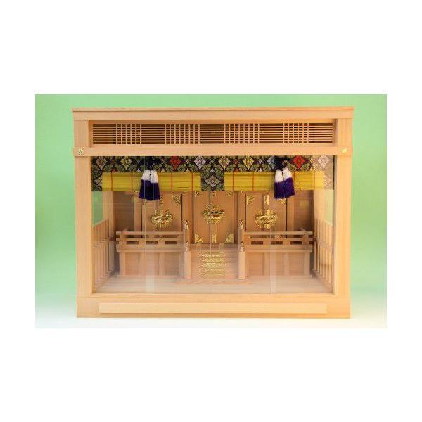 神棚 三社 ガラス本雅三社 御簾付き 壁掛け可能 ガラスケース入り ガラス宮 上品|omakase-factory|02
