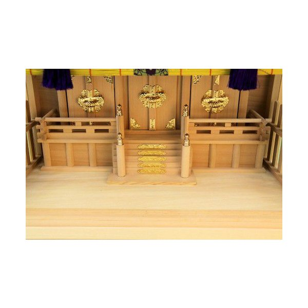 神棚 三社 ガラス本雅三社 御簾付き 壁掛け可能 ガラスケース入り ガラス宮 上品|omakase-factory|03