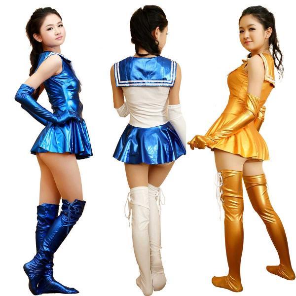 【ピカピカ光る】 メタリック セーラー服風衣装 男性着用可|omosirokurabu|05