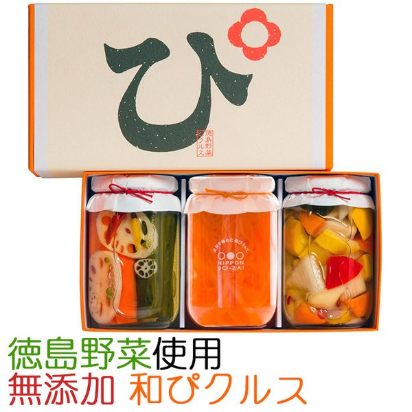国産・無添加!素材を極めた和ピクルス「徳島ぴクルス」大瓶 3種セット(エイブルフーズ) のし対応可