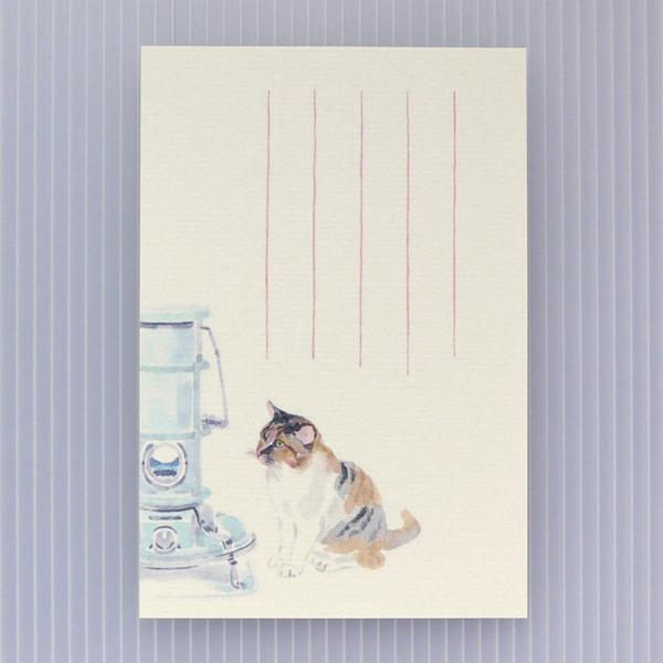 絵葉書 おしゃれ 和紙 季節の絵はがき 冬 猫とストーブ