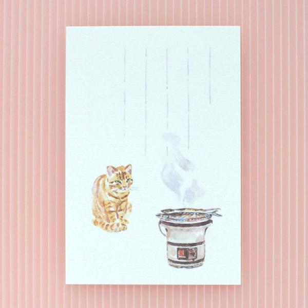 絵葉書 おしゃれ 和紙 季節の絵はがき 秋 猫と秋刀魚