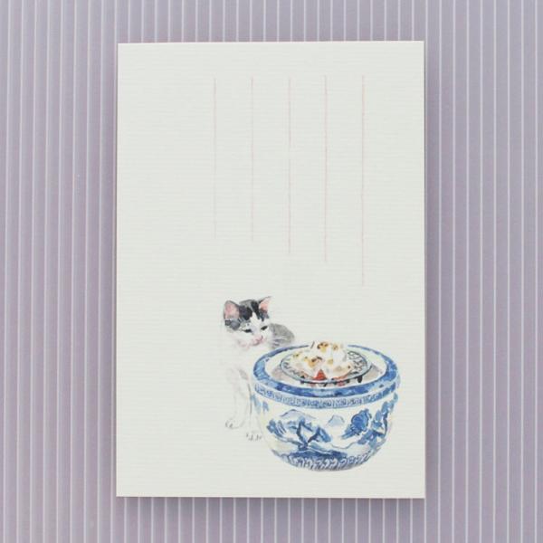 絵葉書 おしゃれ 和紙 季節の絵はがき 冬 猫と火鉢