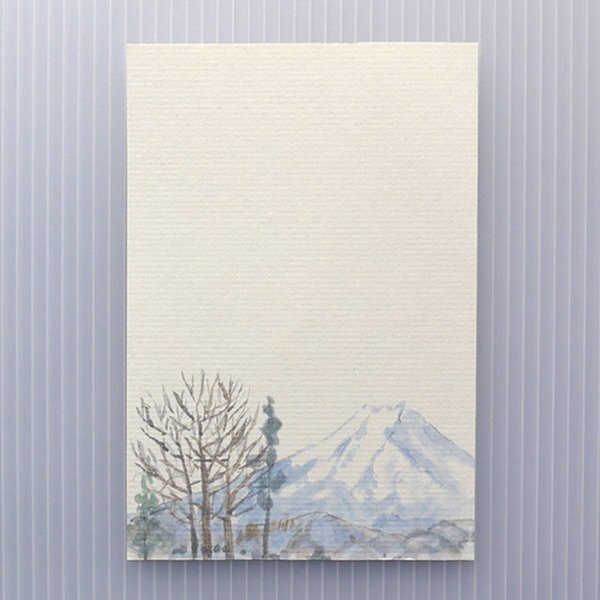 絵葉書 おしゃれ 和紙 季節の絵はがき 冬 冬の富士