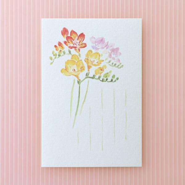 絵葉書 おしゃれ 和紙 季節の絵はがき 春 フリージア