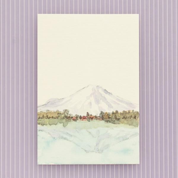 絵葉書 おしゃれ 和紙 季節の絵はがき 冬 逆さ富士