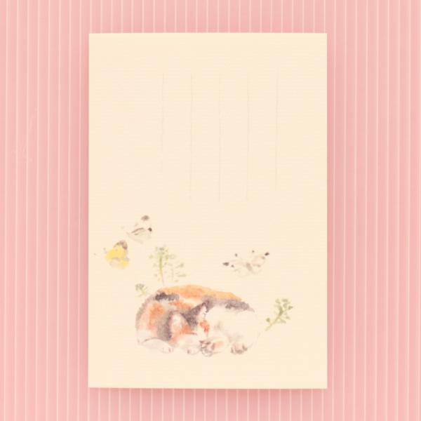 絵葉書 おしゃれ 和紙 季節の絵はがき 春 三毛猫とモンシロチョウ