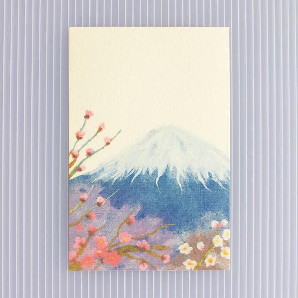 絵葉書 おしゃれ 和紙 季節の絵はがき 冬 梅と富士