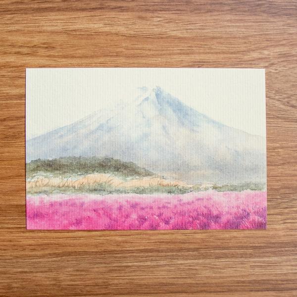 絵葉書 おしゃれ 和紙 季節の絵はがき 秋 富士とコキア 横