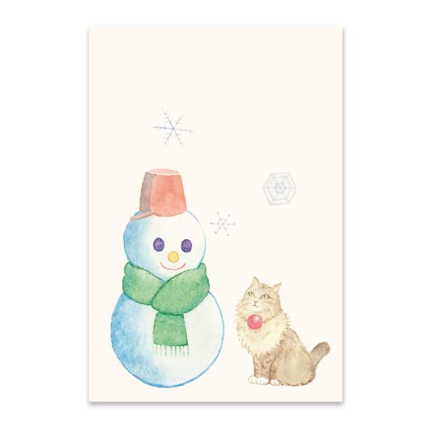 絵葉書 おしゃれ 和紙 季節の絵はがき 冬 猫と雪だるま