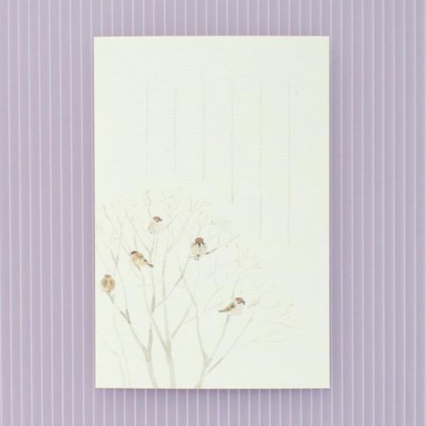 絵葉書 おしゃれ 和紙 季節の絵はがき 冬 ふくら雀