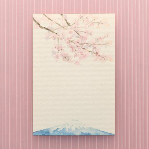 絵葉書 おしゃれ 和紙 季節の絵はがき 春 富士とさくら