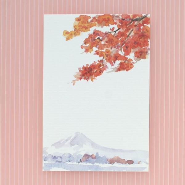絵葉書 おしゃれ 和紙 季節の絵はがき 秋 富士と紅葉