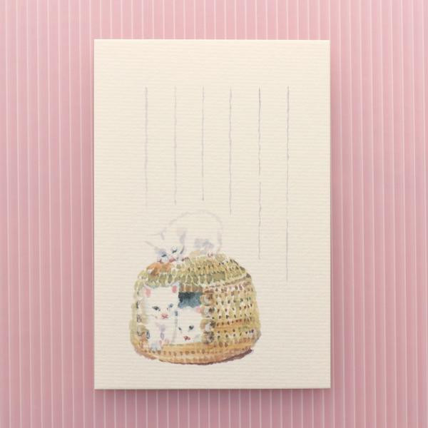 絵葉書 おしゃれ 和紙 季節の絵はがき 春 3匹の子ねこ