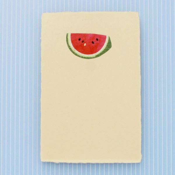 絵葉書 おしゃれ 和紙 ちぎり絵はがき 夏 冷し西瓜