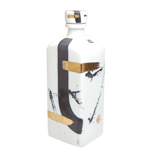 ボトル 有田焼 ゼブラ金彩 (ネジ式キャップ) 長角焼酎ボトル