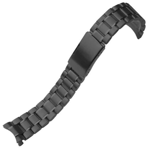 腕時計 交換バンド ベルト ステンレス ブラック 3連 22mm 弓カン プッシュ式