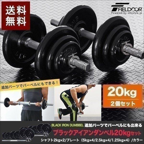 ダンベル 20kg 2個セット アイアンダンベル 2個 セット ダンベルセット 計 40kg 筋トレ トレーニング 送料無料