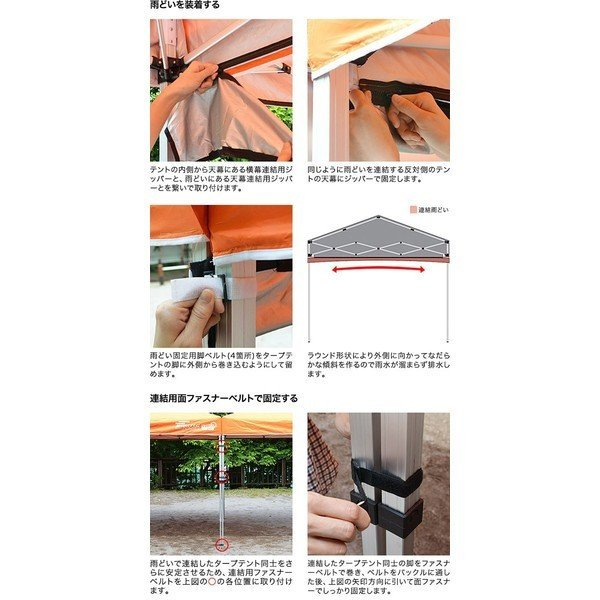 テント タープ 軽量アルミタープテント3.0m用 テント連結雨どい テント連結ファスナー 雨どい 送料無料|onedollar8|04