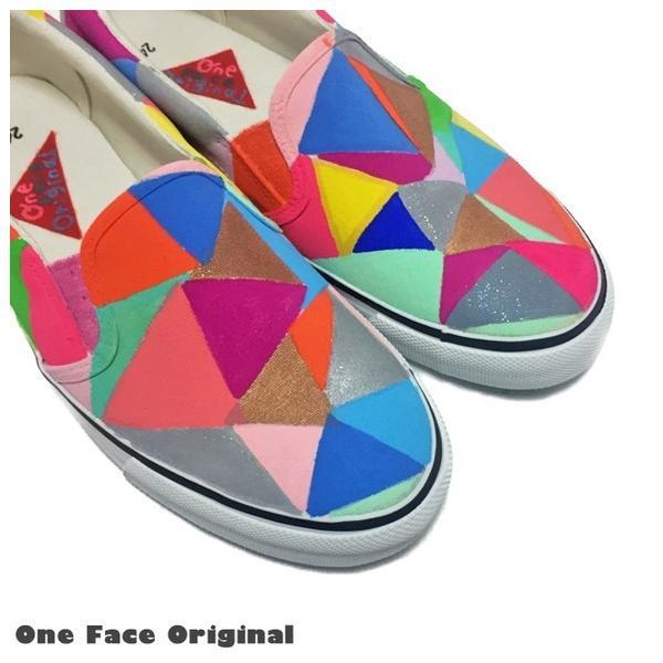 スニーカー「pattern」カラフルな三角デザイン!【受注制作】【名入れ可】
