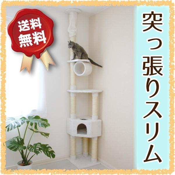 キャットタワー突っ張り型CT-A2307天井の低いお部屋に  スリムおしゃれ省スペーススリムタイプシンプル猫用品キャットツリー爪