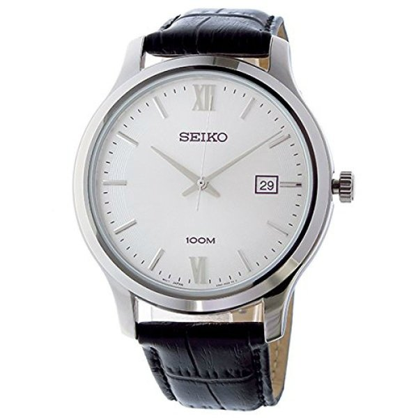 セイコー SEIKO 腕時計 SUR225 メンズ ウォッチ Watch Silver Dial Black Leather Band シルバー レザーバンド 防水 アナログ クリスマス プレゼント|oneofakind