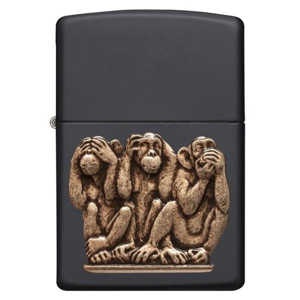 ジッポー ライター ZIPPO ジッポ Animal アニマル ライター 29409 Black Matte Monkey 三猿 見ざる聞かざる言わざる オイルライター oneofakind 02