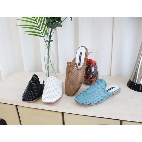 バブーシュ レディース メッシュ ペタンコ フラットシューズ 2019 春 ファッション 靴 婦人靴 黒 白 茶色