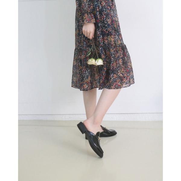 バブーシュ レディース ローヒール シンプル 春 ファッション 靴 婦人靴 黒 白 ベージュ