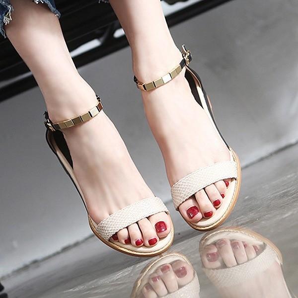 サンダル レディース フラットヒール アンクルストラップ 女性用 婦人靴