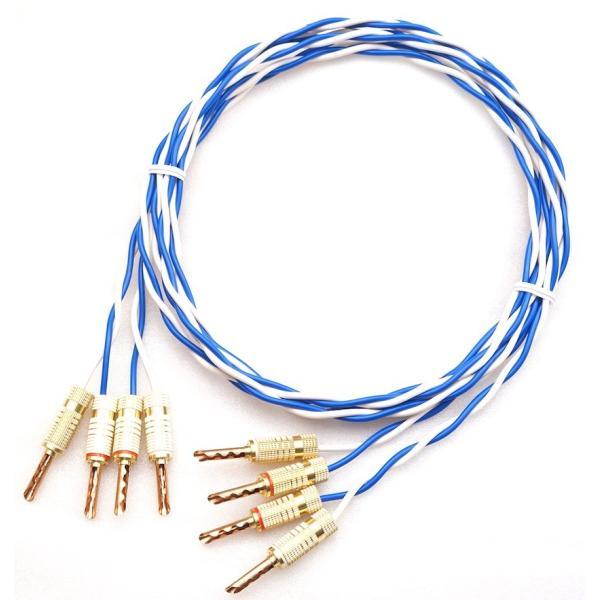 ONKODO Blue y524 リン青銅製 非メッキバナナプラグ付 スピーカーケーブル 2本セット 1m