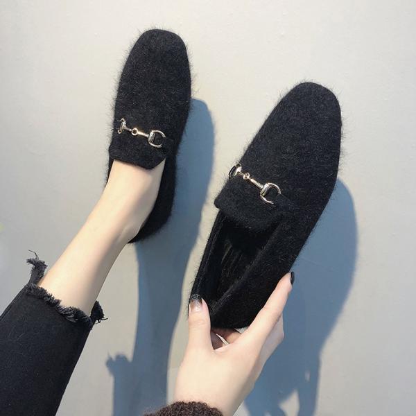 ファーパンプス レディース シューズ 秋冬 韓国 靴 走れるパンプス 人気 フラットパンプス ぺたんこ(メ便不可)