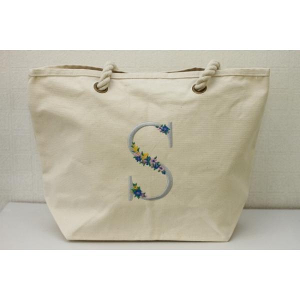 アウトレット品 Flowerイニシャル刺しゅうキャンバスロープハンドルトートバッグ(A4対応) トート プレゼント イニシャル 刺繍 かわいい トートバッグ