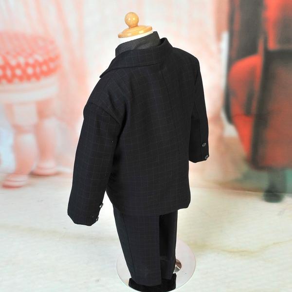 男児スーツ B2/七五三/結婚式/パーティー/ピアノの発表会/ チェックスーツ 黒 90cm|onlyyou|02