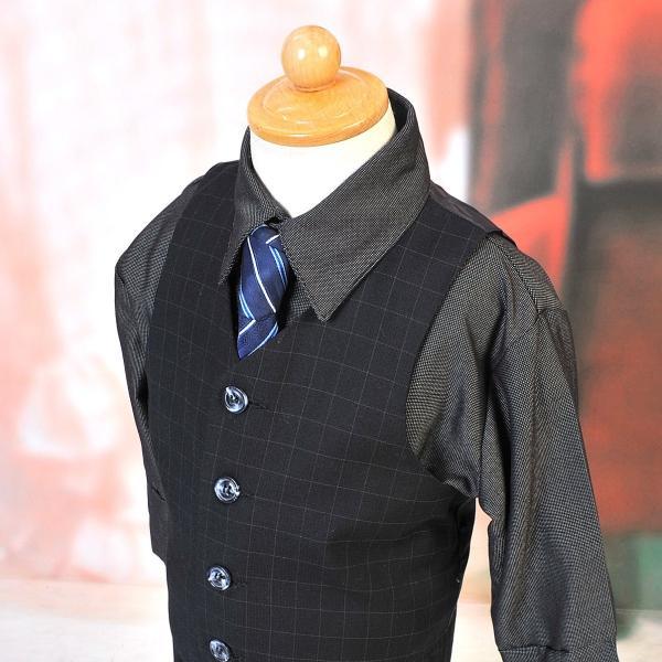 男児スーツ B2/七五三/結婚式/パーティー/ピアノの発表会/ チェックスーツ 黒 90cm|onlyyou|04