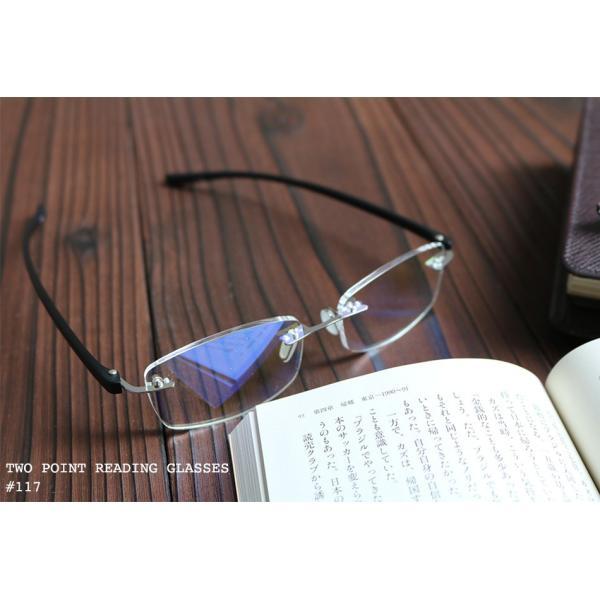老眼鏡 かっこいい ツーポイントモデル 117 全2色 リーディンググラス おしゃれ 男性用 女性用 老眼鏡に見えないメガネ ブルーライトカット メンズ レディース|onokonoshop|04