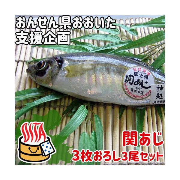 おんせん県おおいた 活締めした新鮮な関アジ 3枚おろし 3尾分セット(加工前1尾あたり約300g) 脂がのった関あじ 佐賀関漁港から直送 富士見水産