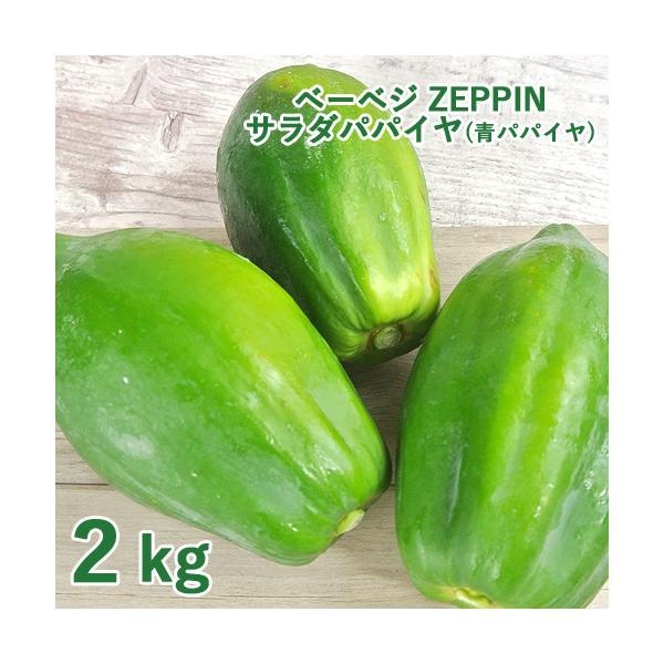 シャキシャキ食感 ZEPPINサラダパパイヤ 2kg(3〜4個) 青パパイヤ パパイン酵素 無農薬 ベーベジ【送料無料】