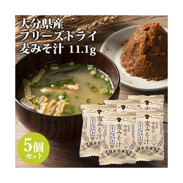 大分産ブランド味一ねぎ入り 宇佐の麦みそ汁 11.1g×5個セット フリーズドライ 坂本商店