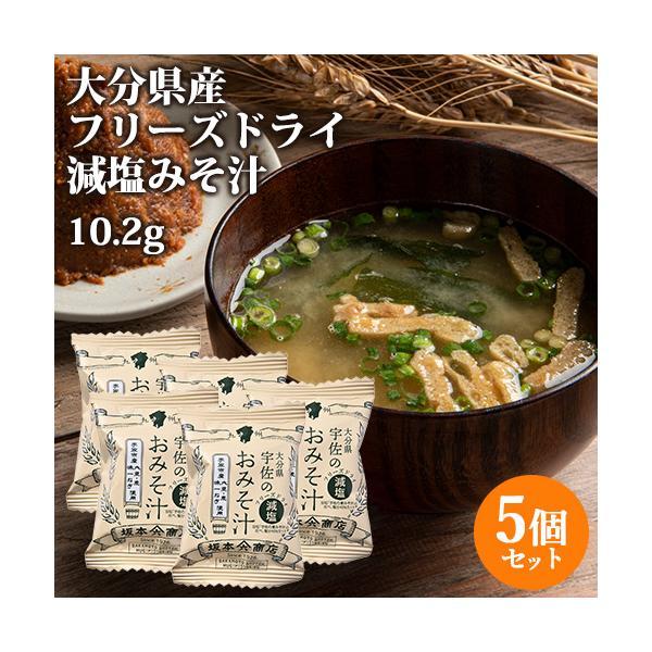 大分産ブランド味一ねぎ入り 宇佐のおみそ汁 減塩タイプ 10.2g×5個セット フリーズドライ 坂本商店