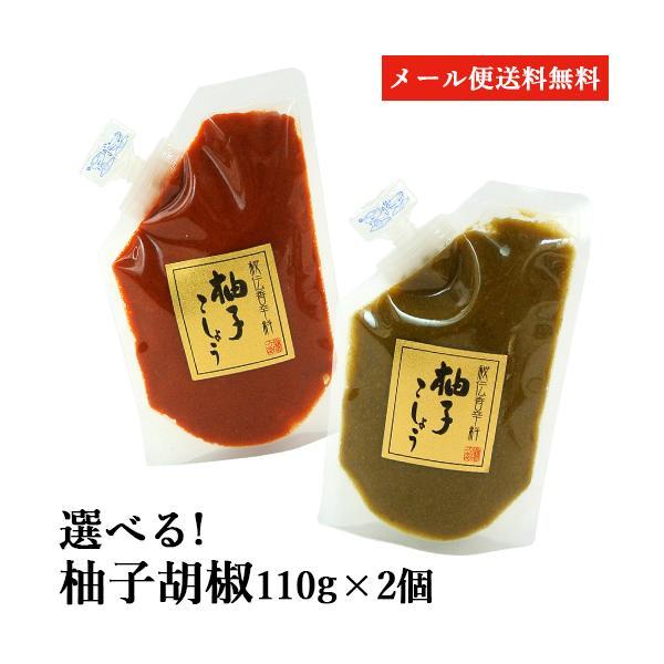無添加&無着色 選べる 柚子胡椒スタンドパック 110g×2個セット 国産原料のみ使用 柚子こしょう マルナカ・フーズ ゆうパケット送料無料
